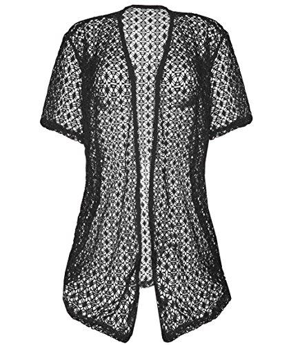KMystic Womens Long Crochet Hollow Knit Cardigan Shrug (Medium/Large, Black) (Knit Short Cardigan Sleeve)
