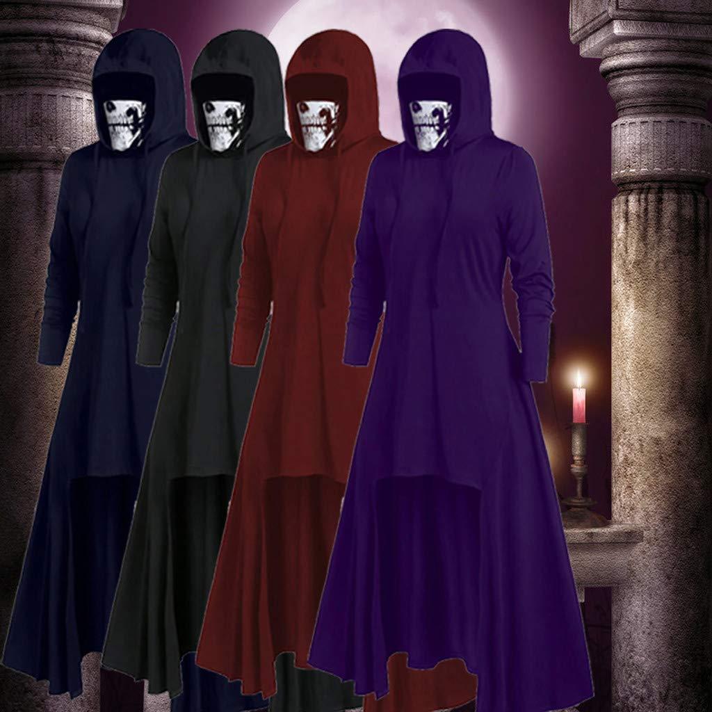 Women Maxi Dress Hooded Sweatshirt Vintage Renaissance Costumes Halloween Party Cosplay Gothic Punk Asymmetric Hem Long Sleeve Cloak Loose Hoodies Dresses with Skull Mask