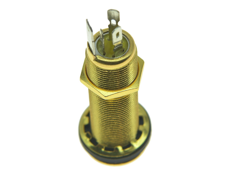 Amazon.com: KAISH Stereo Copper Guitar Bass Barrel Jack Cylinder Input/Output  Jacks 4 Pins Gold: Musical Instruments