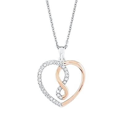 Amor Damen-Kette 45 cm mit Anhänger Herz Infinity 925 Silber Zirkonia weiß ad25452959