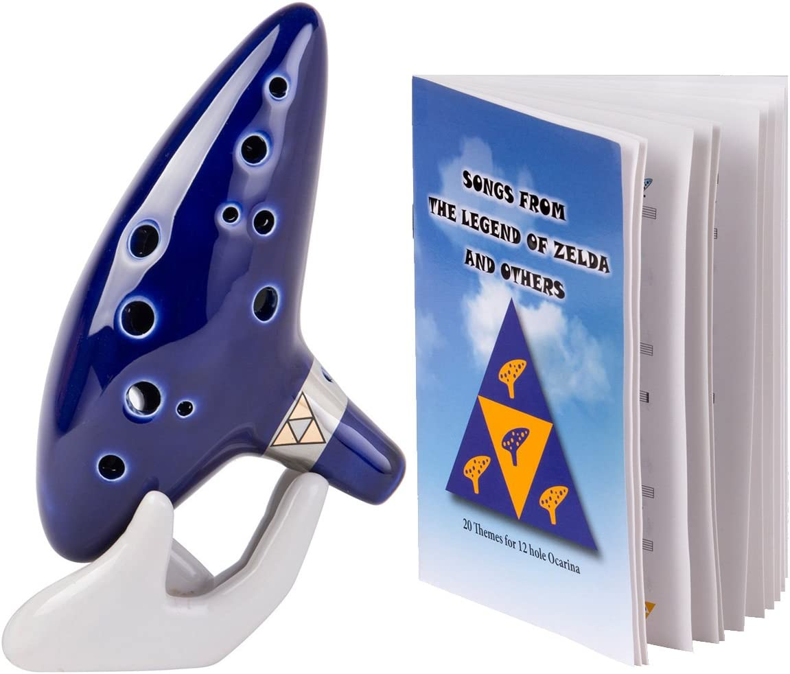 Deekec Zelda Ocarina 12 Hole Alto C with Song Book with Display Stand Protective Bag