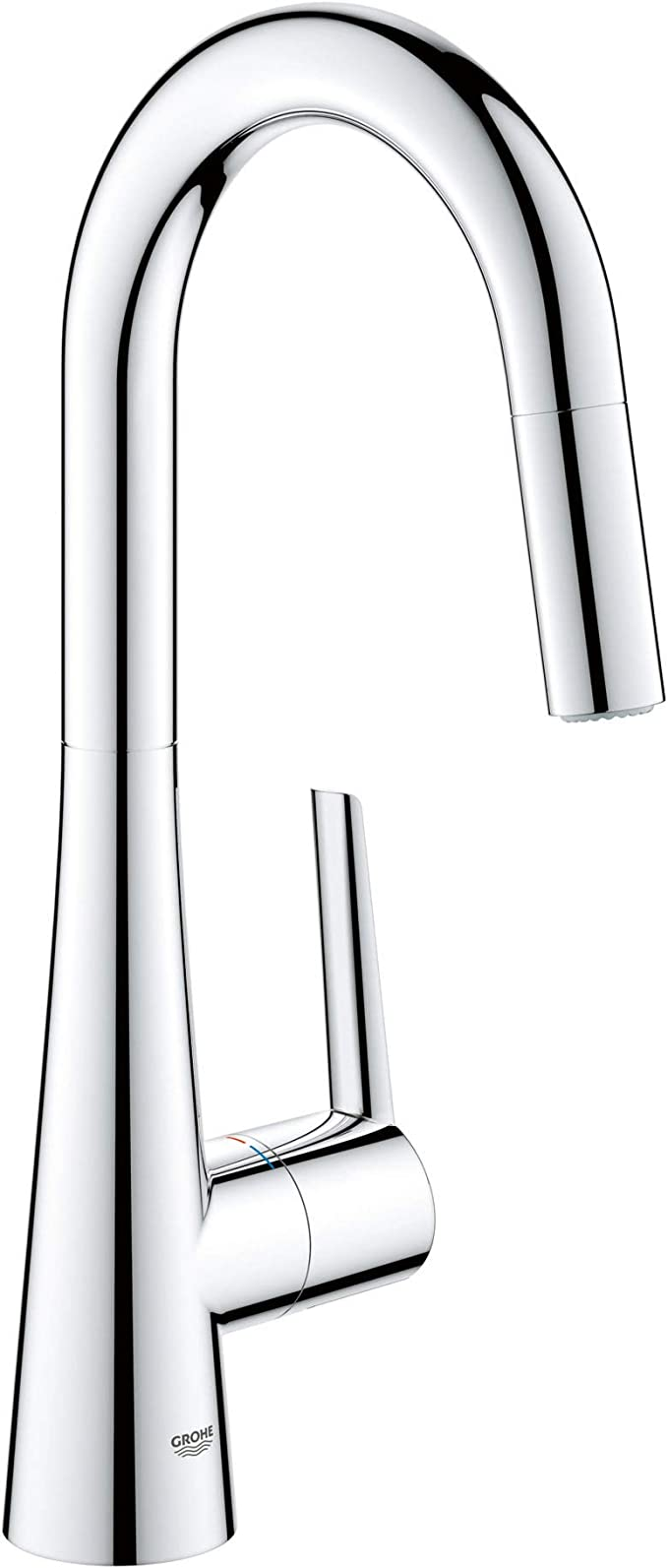 Grohe 32283003 Ladylux L2 Single Handle Pull Down Dual Spray Prep Sink Kitchen Faucet In Starlight Chrome Amazon Com