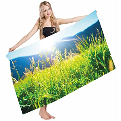 7f5d1098b360 Mugod Beach Towel Bath Towels Nature Pastoral Field Alpine Meadow Mountain  Valley Fresh Summer Rural Yoga