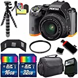 Pentax K-S2 DSLR Camera with 18-50mm Lens (Black/Orange) + 16GB Card + 32GB Card + Flash + 58mm UV Filter + Deluxe Accessory Kit Bundle