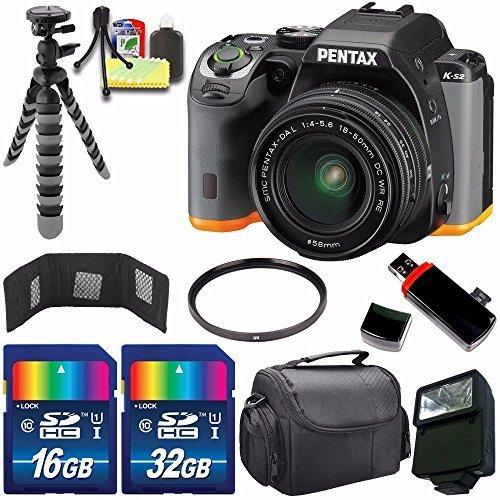 Pentax K-S2 DSLR Camera with 18-50mm Lens (Black/Orange) + 16GB Card + 32GB Card + Flash + 58mm UV Filter + Deluxe Accessory Kit Bundle