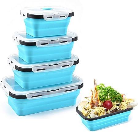 FXXJ Recipiente de Almacenamiento de Alimentos de Silicona Plegable, con 4 Tapas, Espacio de Almacenamiento apilable, Apto para microondas, Nevera, congelador, Apto para lavavajillas, sin BPA,Blue: Amazon.es: Hogar