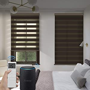 Graywind Motorized Zebra Sheer Blinds Compatible with Alexa Horizontal Light Filtering Window Shades Remote Roller Blinds with Valance for Smart Home and Office, Customized Size, Brown