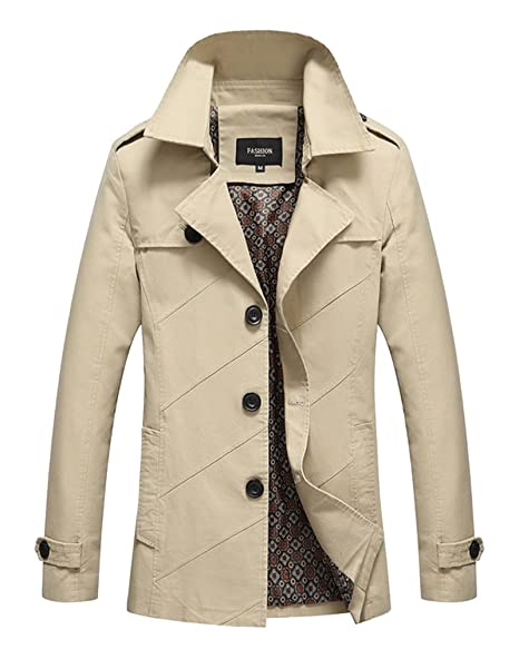 LaoZan Abrigos Y Chaquetas De Los Hombres Moda Chaqueta Trench Coat Abrigo 3XL Beige