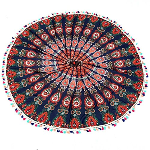 Voberry Indian Mandala Round Tassel Beach Throw Tapestry Hippy Boho Gypsy Cotton Tablecloth Beach Towel Round Yoga Mat (Khaki)