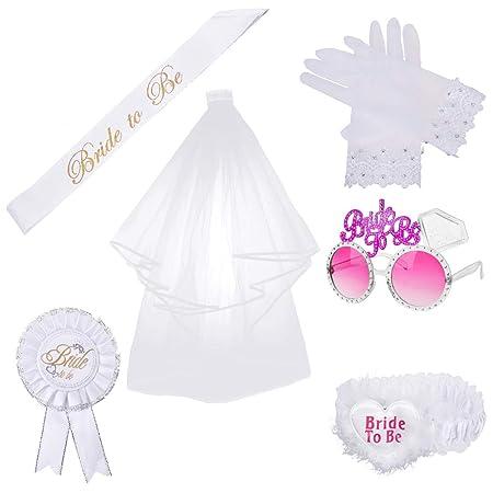 OZUAR 6 Stück Bride To Be Dekoration Party set, Hochzeit Weißer Schleier Mit Kamm Satin Schärpe Strumpfband Abzeichen Brille