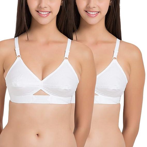 7b98106fcee Dilency Sales Pure White Cotton Bra Full Coverage Round Stitch Cotton Bra  No Elastic Straps