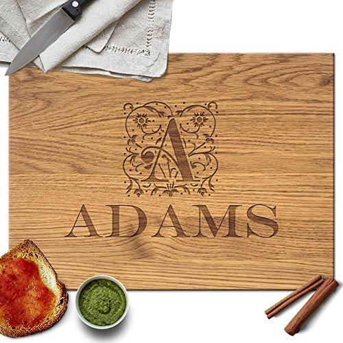 Froolu Floral Decorative personalized cutting board for Monogram Name & Initial Christmas Gifts ()