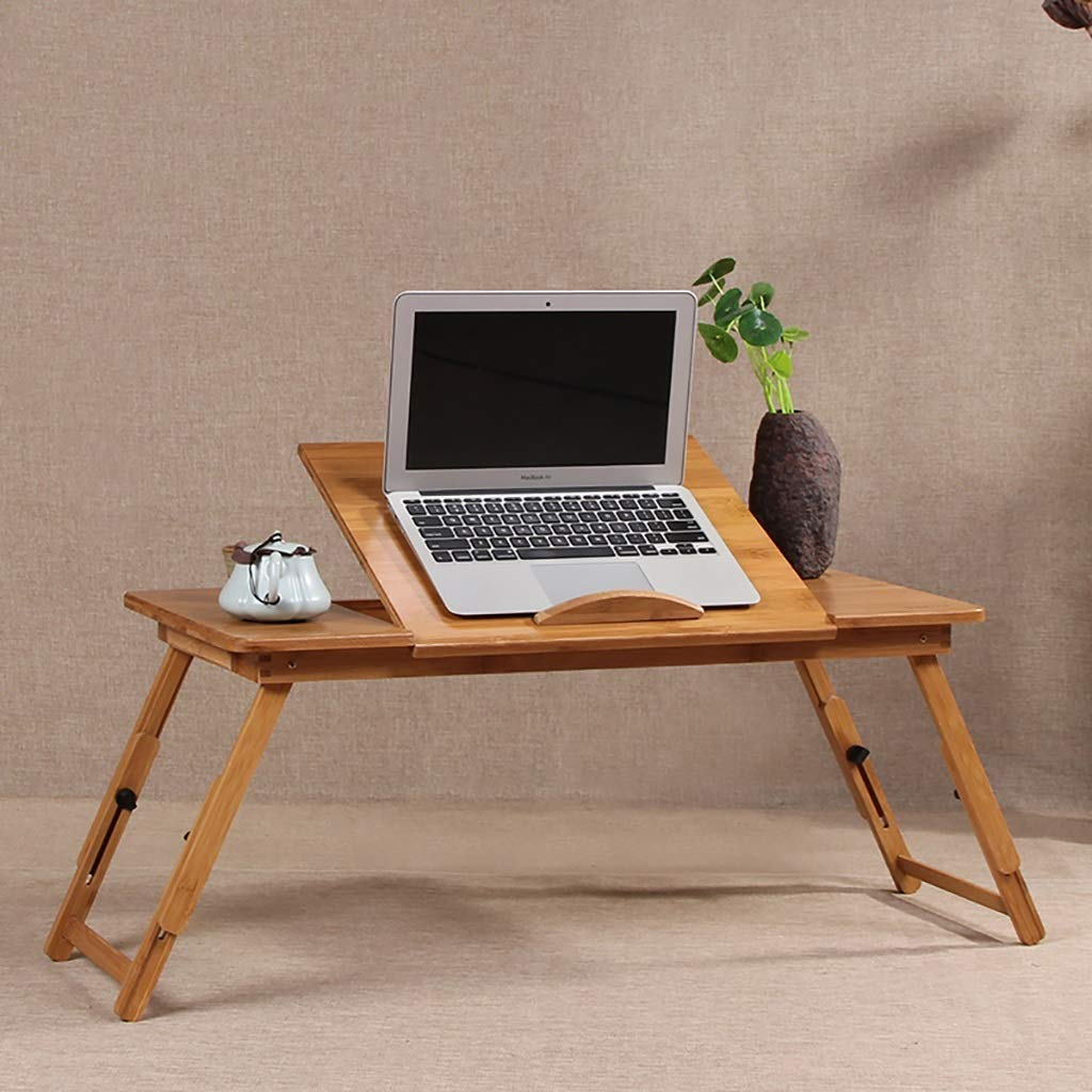 TJTG End Tables Notebook Computer Desk Bed Computer Desk Folding Lazy Table Dormitory Desks Deep Mountain Bamboo Features Various Specifications Home Office Desk (Size : 50cm)