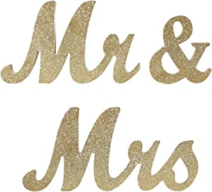 Mr Mrs Sign for Wedding Table,Mr and Mrs Wooden Letters,Large Mr. & Mrs.Party Decoration Items,Head Table Wedding Wood Letter,Just Married Sign Anniversary Party Valentine's Day Vintage Decor,Golden