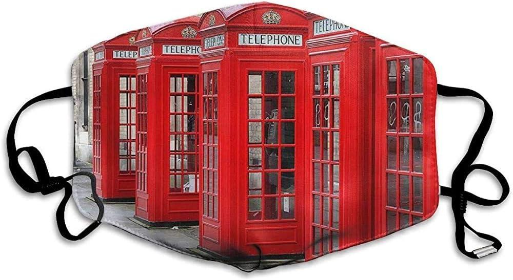 Cabina de teléfonos roja de Londres: icónica diversión, mascarilla bucal Reutilizable, Moda, mascarillas Antipolvo