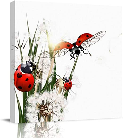LADYBIRDS YELLOW FLOWERS CANVAS PICTURE PRINT WALL ART FREE FAST DELIVERY