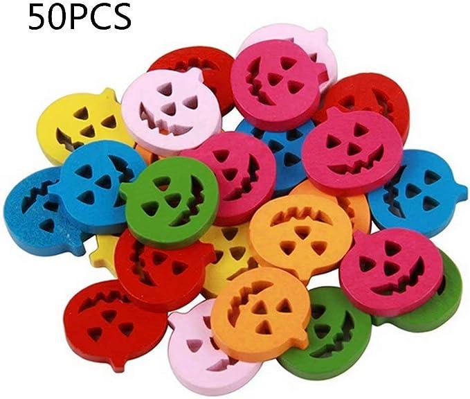 50 botones de bricolaje de madera para costura y elaboraci/ón colores al azar