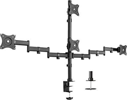 VIVO Quad LCD Monitor Heavy Duty Desk Mount 3 Plus 1 Stand, Holds 4 Screens up to 27 inches (STAND-V004Y)