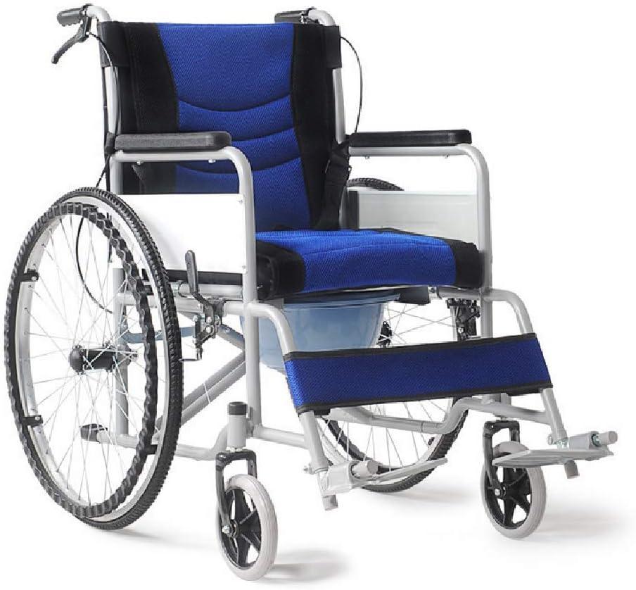 FTNJG Silla de Ruedas Ligera Silla de Ruedas Plegable Doble Sistema de frenado para tránsito Ultraligera y Plegable para Personas Mayores con discapacidad