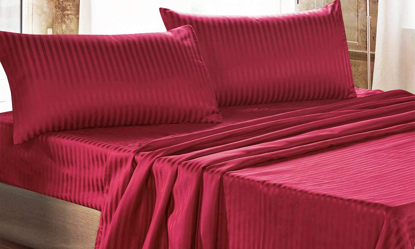 sotto e Federe in Tinta Unita Rigato 300x250x1 cm Italian Bed Linen CL-ST-bordeaux-2P Completo Letto con Lenzuolo sopra Bordeaux Raso di Poliestere Matrimoniale