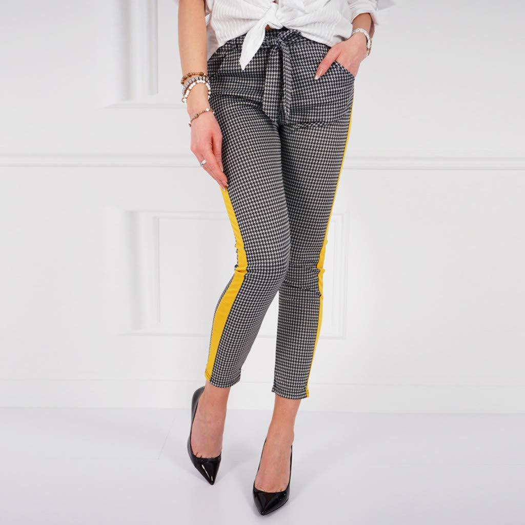 Womens Elastic Waist Casual Pants Single Breasted Frill Trim Plaid Pants