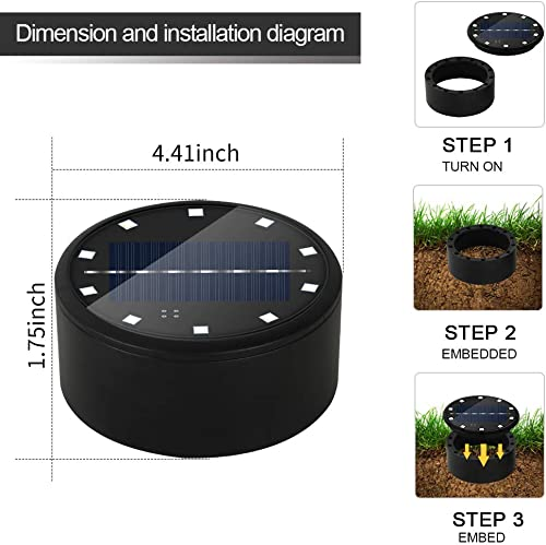 RINLNOY Disk Lights,10 LED Solar Ground Lights Walkway Waterproof Landscape Lighting for Yard Deck Patio Pathway Lawn Driveway