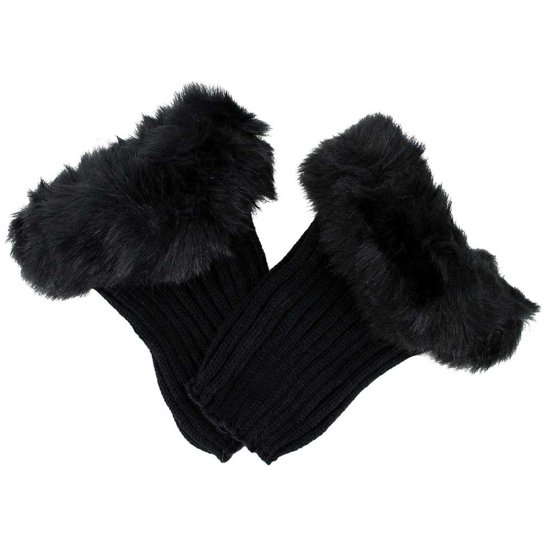black knit boot cuff leg warmers with faux fur trim at amazon