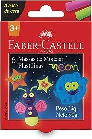 Massa de Modelar Base Cera 6 Cores Neon, Faber-Castell, 22.0306NEON, Multicor