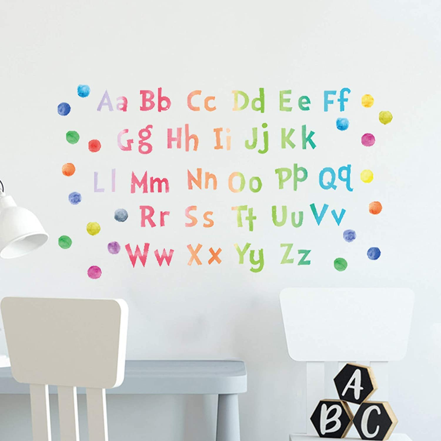 Alphabet Wall Stickers Educational ABC Wall Decals for Kids Room, Watercolor Alphabet Letter Wall Decor Posters Vinyl Colorful Wall Murals for Baby Room Classroom Nursery