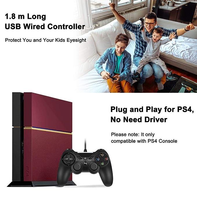 Mando PS4 Gamepad con Cable USB con Doble Vibración para PlayStation 4, Negro: Amazon.es: Videojuegos