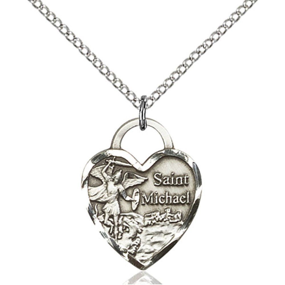 Sterling Silver St. Michael the Archangel Pendant 3/4 x 5/8 inches with Sterling Silver Lite Curb Chain Bliss Manufacturing 3203SS/18SS