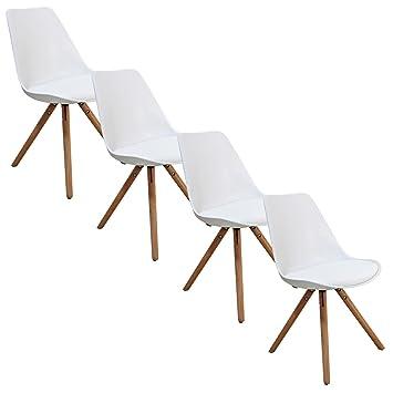 Lot de 4 chaises design blanc velta pieds en bois