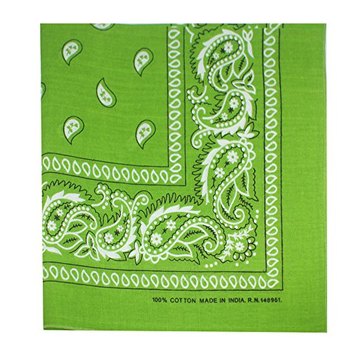 Bandana Lime Green - M.H.I. 12 Pack One Dozen Color Double Sided Print Paisley Cowboy Novelty 100% Cotton Bandana Scarf(Many Colors) (Lime Green)