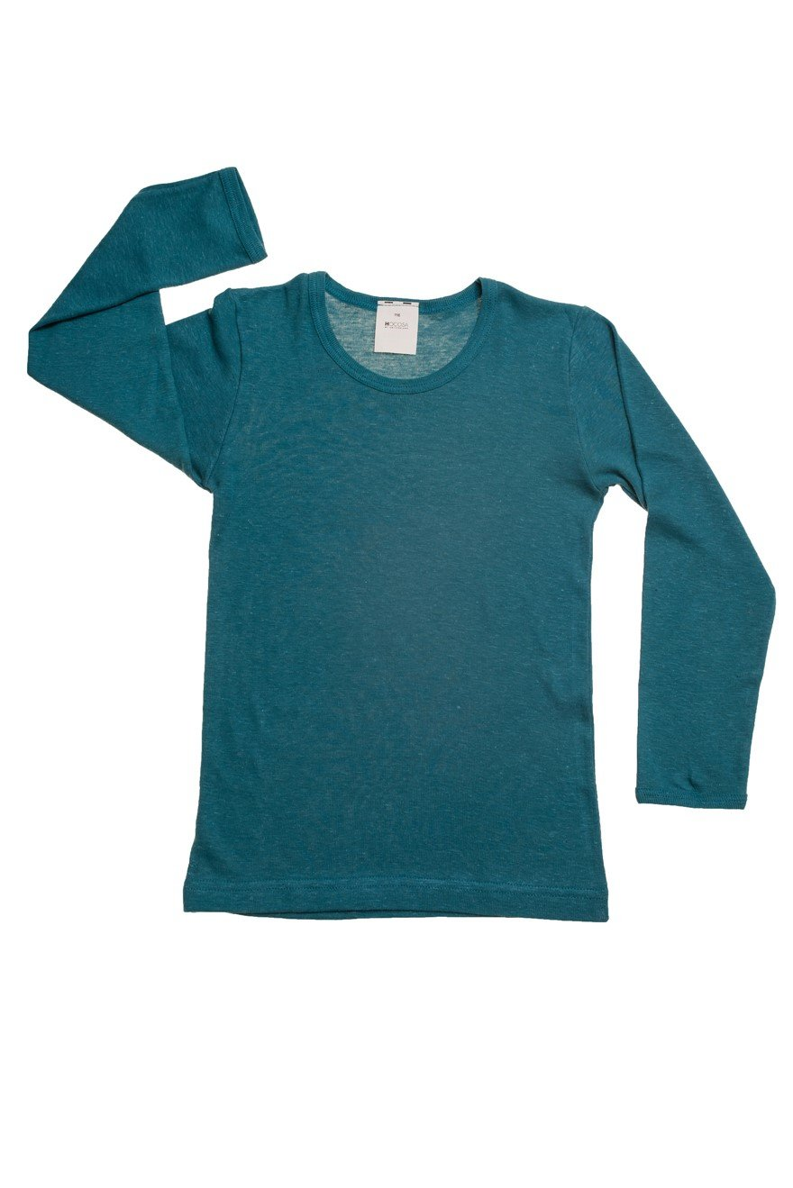 HOCOSA Children's Long Underwear Shirt, Long Sleeves in Organic Cotton/Hemp, Seagreen-Blue, Size 116 (6 yr, 45 in Tall) by Hocosa of Switzerland