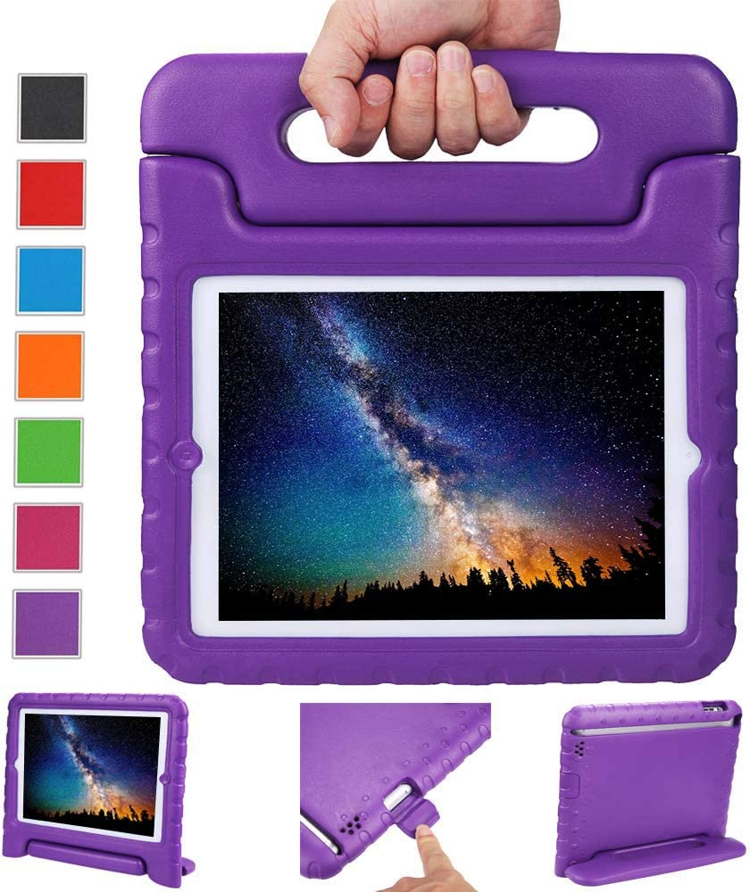NEWSTYLE Apple iPad 2 3 4 Shockproof Case Light Weight Kids Case Super Protection Cover Handle Stand Case for Kids Children for Apple iPad 4, iPad 3 & iPad 2 2nd 3rd 4th Generation (Purple)