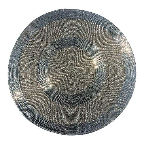 WHW Whole House Worlds Crosby Street Shimmer and Chic Round Silver Filigree Beaded Placemats, Set of 2, Wire, Glass, 13 ¾ Inches ()