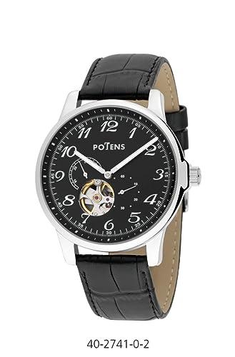 Reloj caballero potens mecánico automático caja acero correa piel: Amazon.es: Relojes