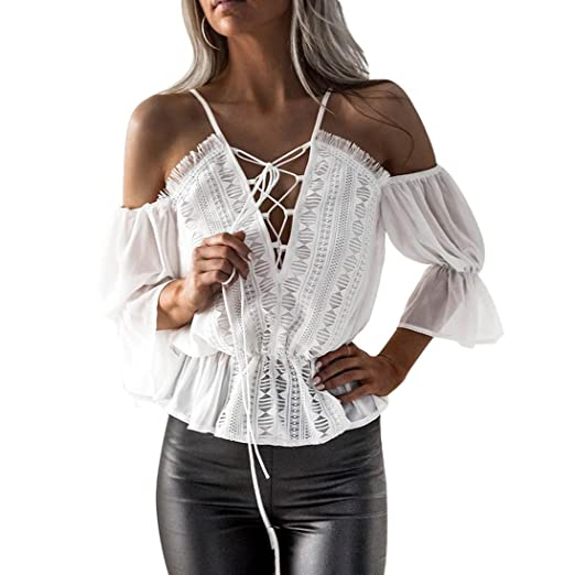 45ed96fca2252 iTLOTL Women Short Sleeve Off Shoulder Lace Chiffon Blouse Casual Tops T- Shirt(US