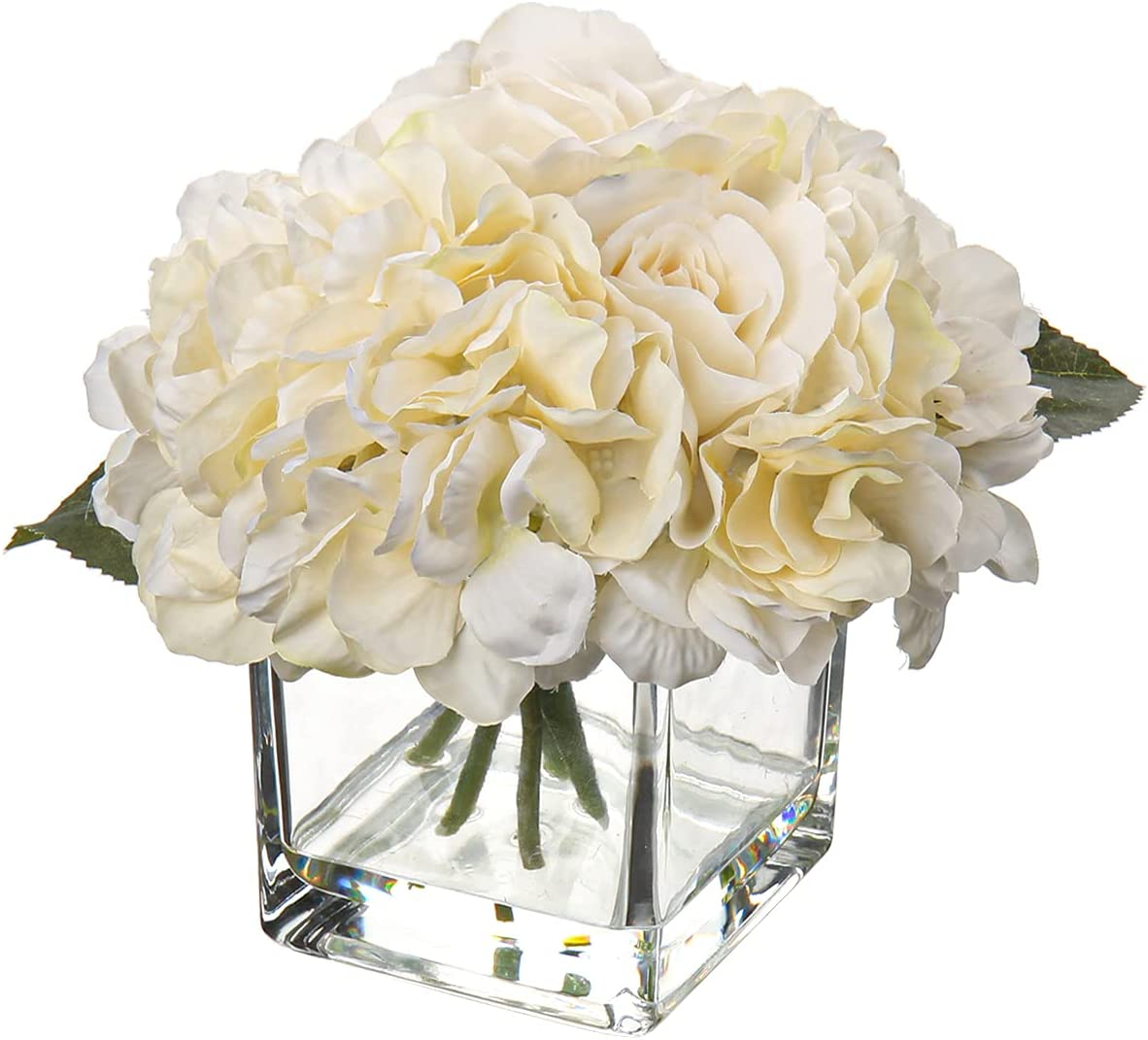 Dining Table Centerpieces Artificial Rose Hydrangea in Vase with Faux Water for Farmhouse Decor Wedding Home Kitchen Decoration- Cream Flowers Cream Decor