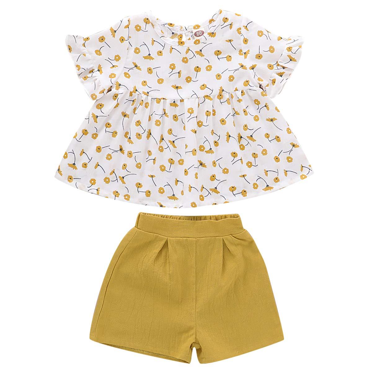 Pantaloncini Gialli 2 Pezzi DaMohony Completo da Bambina a Maniche Corte con Motivo Floreale