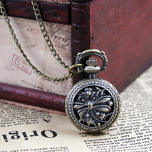 Vintage Jewelry Pocket Watch with Carved Dragonfly Design Pendant Necklace with Free Jewelry Pouch