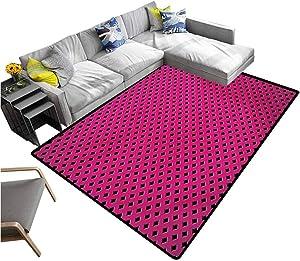 Magenta Carpet Diamond Line Grill Cross Wire Design Logo Digital Motif Image Print Rectangle Carpet Black Fuchsia (4'x6')