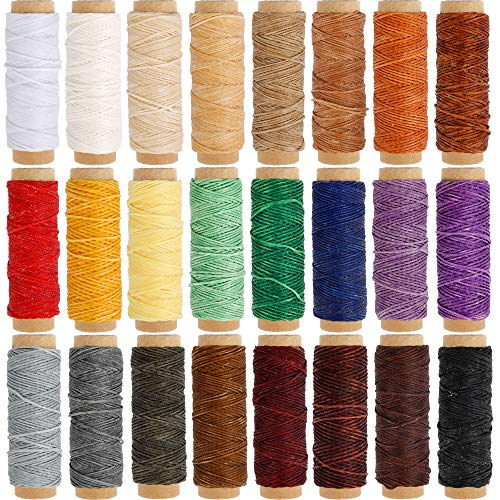 (JANYUN 24 Colors Flat Leather Sewing Waxed Cord Thread,Each of 33 Yards)