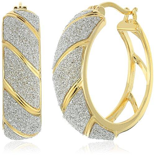 "18k Yellow Gold Plated Sterling Silver ""Glitter"" Hoop Earrings"