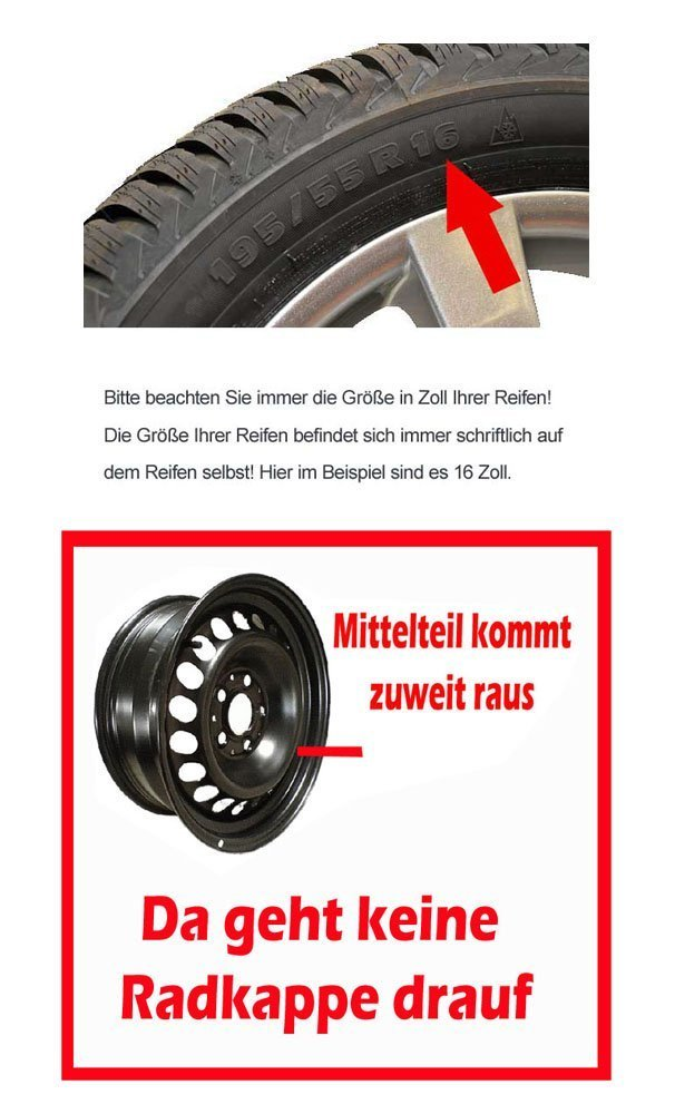 16 Zoll Radkappe // Radzierblende 1 St/ück Quad Bicolor passend f/ür fast alle Fahrzeugtypen verschiedene Gr/ö/ßen Schwarz-Silber universal
