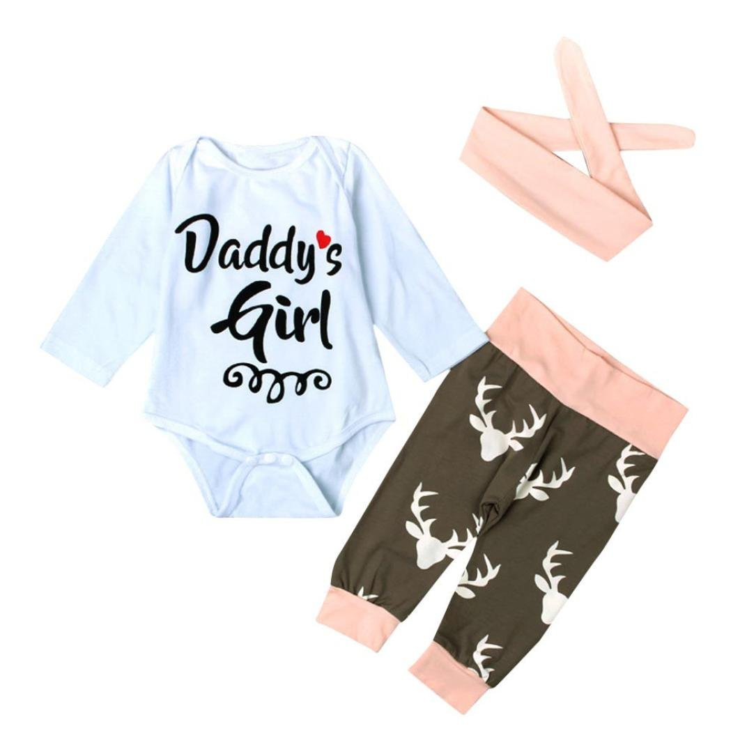 ANBOO Daddys girl Baby Deer Printing Bodysuit+Pants with Hairband Outfits Set ANBOO2022