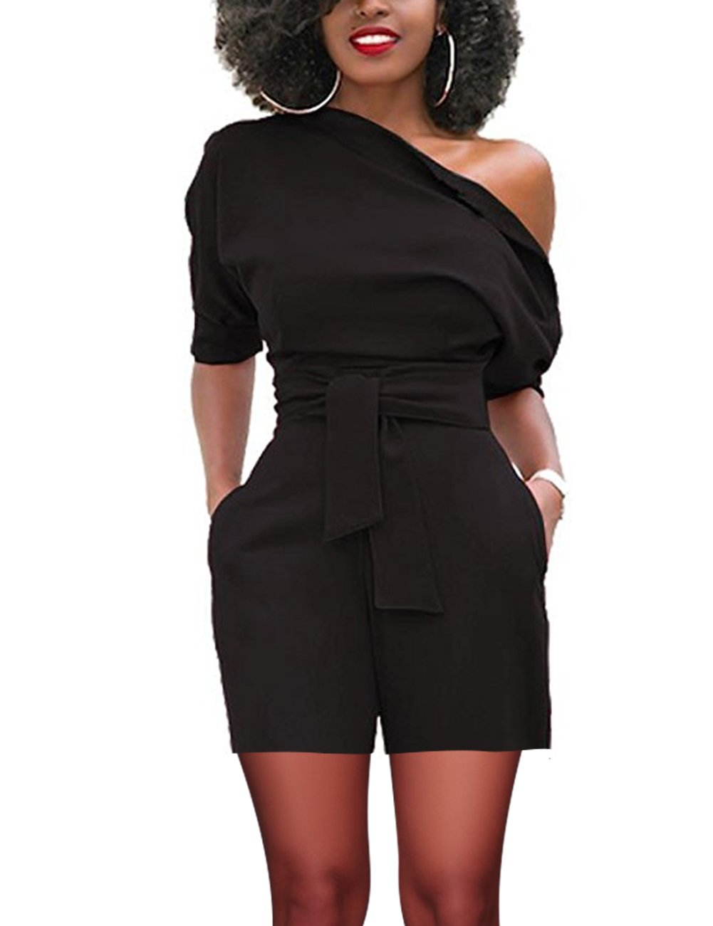 Women's Sexy One Shoulder Solid Jumpsuits Causal Romper with Belt(M, Black 1#)