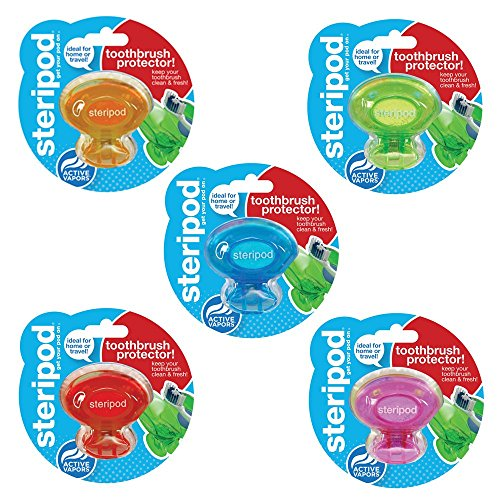 Steripod Clip-On Toothbrush Sanitizer, 3-Pack - Colors Vary