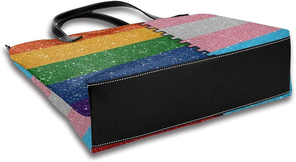 LGBT Rainbow Tote Bag Heavy Duty Multi Purpose PU Leather Tote Shoulder Bag With Zipper Closure Pocket,Handbag For Shopping,School,Work,Laptop