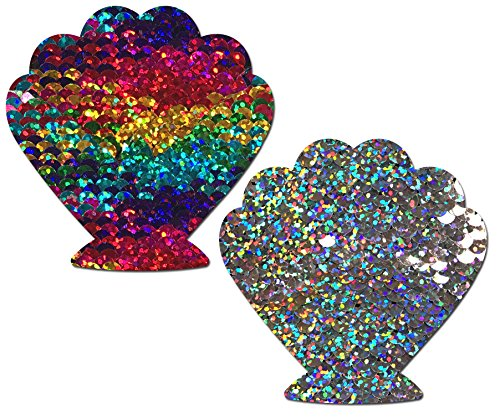 (Mermaid: Rainbow/Silver Glitter Sequin Seashell Nipple Pasties by Pastease o/s)